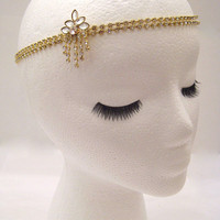 The Sybil - gold crystal Gatsby hairpiece, art deco chain headpiece, crystal hair wrap, 1920s crystal wedding hair, Gatsby Halloween party