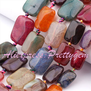 """10x14mm 12x16mm 13x18mm Rectangle Faceted Cracked Multicolor Agate Gem Stone Beads For DIY Necklace Bracelet Jewelry Making 15"""""""