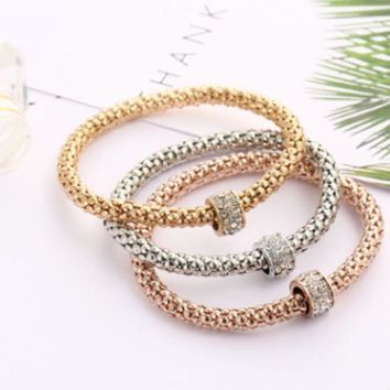 ONETOW Hot style paneling bracelet, bala drill ball spring popcorn hand chain three-color kit first accessories