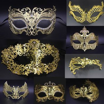 Male Female Phantom Gold Skull Venetian Metal Costume Masquerade Party Mask Laser Cut Halloween Prom Cosplay Wedding Ball Masks