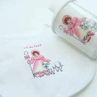 SALE Pink Embroidered Bib and Sipper Cup, Cross Stitch Bib, Little Bo Peep Needlework Bib, Girl's Baby Bib