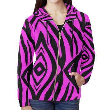 Pink Stripes Design 1 Women's All Over Print Full Zip Hoodie