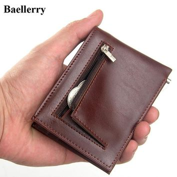 Brand Mini Leather Clip Wallets Men Casual Purse Male Money Bags Credit Card Holder Coin Zipper Pocket ID Card Case Small Wallet