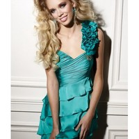 Beading And Ruffles Satin Column One-Shoulder Short Length Blue Cocktail Dress NPD0105