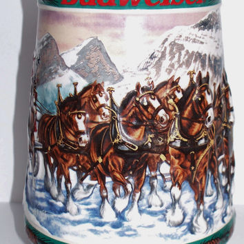 Special Delivery 1993 Budweiser Holiday Stein Collection Artist Nora Koerber Made in Brazil Ceramarte Anheuser-Busch Christmas Decoration