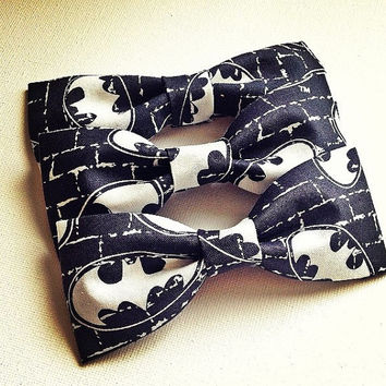 Ready to Ship Batman Inspired Dark Grey White Red Fabric Bow Tie