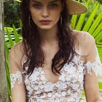 For Love & Lemons Luau Crop Top in White