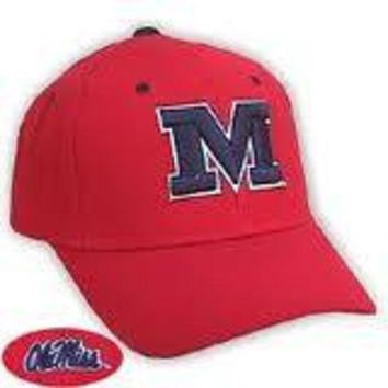 ESBON NCAA Ole Miss Rebels Top Of The World Red Hat With Block 'M'