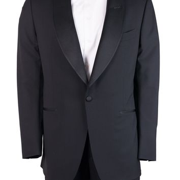 Tom Ford Men's Black Ribbed Shawl Winsdor Two Piece Suit