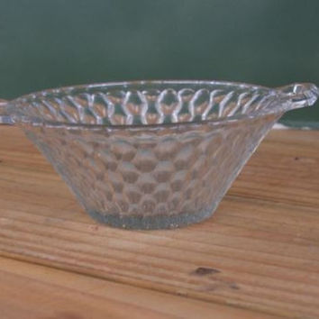 Bowl with Handles Vintage Candy Dish Home Decor Pressed Glass Clear Decorative