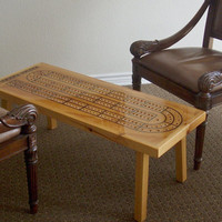 Game Room Cribbage Table, Handcrafted, Natural Wood, Father's Day Gift, Home Decor