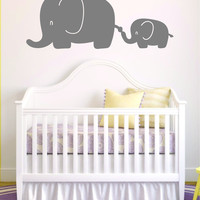 2 Elephants Wall Decal Sticker Room Art Vinyl Beautiful Animal Baby Nursery Safari Teen Kids