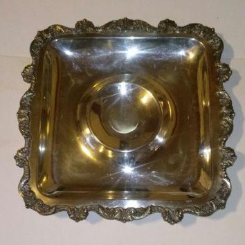"Antique Silver Plated Serving Tray. ""Old English"" by Poole."