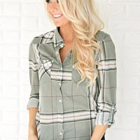 The Essential Plaid Top ~ Olive