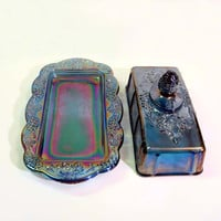 Indiana Carnival Glass Butter Dish & Lid Grape Pattern Blue Iridescent