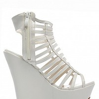 MARIELA-63-03-15 Strappy Platform Wedges Women Wedges WHITE Bare Feet Shoes