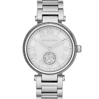 Michael Kors Mid-Size Silver Color Skylar Two-Hand Glitz Watch