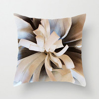 Pillow Cover, Dahlia, 16x16, 18x18, 20x20, Home Décor, Decorative Throw Pillows, Ecru Taupe Brown, Photography, Etsy ArtBJC