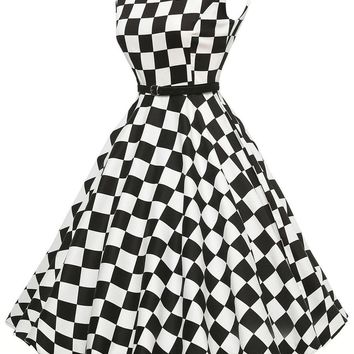 Chicloth Stylish 50's Retro Black White Plain Swing Dress