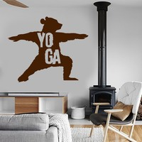 Vinyl Wall Decal Yoga Center Bear Meditation Art Stickers Mural Unique Gift (ig3971)