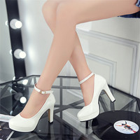 2016 spring and autumn new shoes waterproof shoes thick with high-heeled shoes round buckle word princess shoes