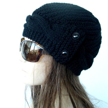 Womens Hat - Knit hat - Valentines day - Black Cloche Hat - cable Knit hat Winter fashion Accessories - Winter Hat