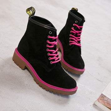 Fashion Leather Frosted Joker Martin Boots