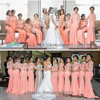 Elegant Coral Long Bridesmaid Dress with Sleeves Nigerian Wedding Ceremony Dress Maid of Honor Wedding Party Bridesmaid Dresses