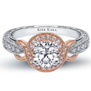 "Kirk Kara ""Pirouetta"" Two Tone Halo Diamond Engagement Ring"