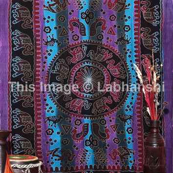 Elephant Hippie Wall Hanging , Indian Tapestry Throw Bedspread , Dorm Tapestry , Decorative Wall Hanging , Picnic Beach Sheet