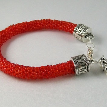 Bracelets Beads Crochet Red strawberry