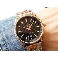 OMEGA new men and women steel strip quartz watch Black