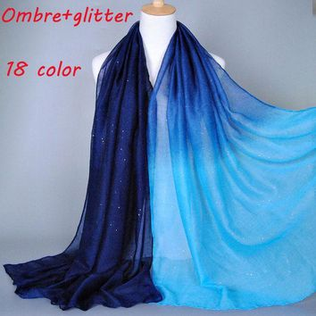 2015 Ombre Glitter Printe Shade Color Cotton Viscose Shimmer Long Shawls Head Pashmina Spring Cotton Hijab Muslim Scarves/scarf