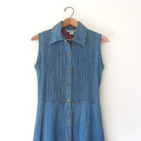 Vintage Blue Denim Dress /  long womens dress / size S