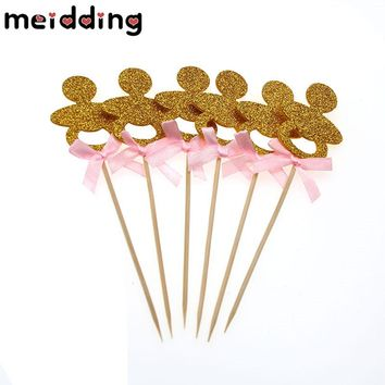 MEIDDING 3pcs Gold Glitter Baby Pacifier Cupcake Topper Baby Food Picks Birthday Party Decor Baby Shower Wedding Party Supplies