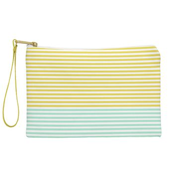 Allyson Johnson Mint And Chartreuse Stripes Pouch