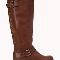 FOREVER 21 Rustic Studded Boots Tan 6
