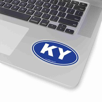 Kentucky KY Euro Oval Sticker BLUE
