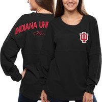 Indiana Hoosiers Women's Pom Pom Jersey Oversized Long Sleeve T-Shirt - Gray