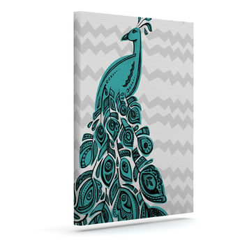"Brienne Jepkema ""Peacock Blue"" Outdoor Canvas Wall Art"