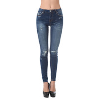 Highwaist skinny jean with distressed detailing