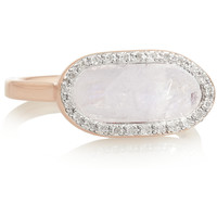 Monica Vinader - Vega rose gold-plated, moonstone and diamond ring