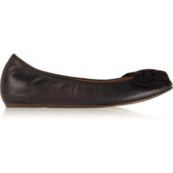 Lanvin - Bow-embellished leather ballet flats