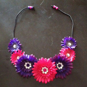 Pink, Purple, Orange, Yellow Flower Crowns, Flower Halos with Rhinestones for EDC, Electric Zoo, Tomorrowworld, Rave, EDM Festival
