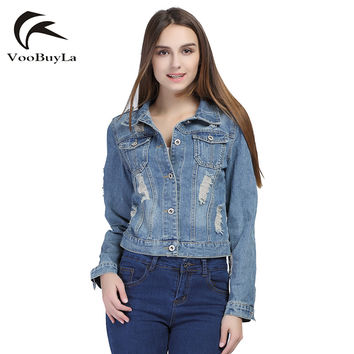 VooBuyLa Fashion S 5XL 6XL Plus Size Autumn Basic Button Denim Jacket Women 2016 Long Sleeve Slim Hole Short Jeans Jacket Coats