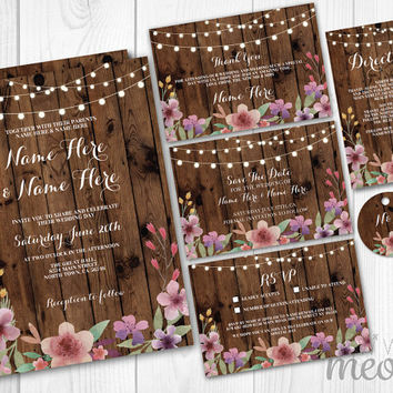 Wedding Invitations Set Template Rustic Package Printable Invites Save The Date INSTANT DOWNLOAD Tags Coral Pink Floral Personalize Editable