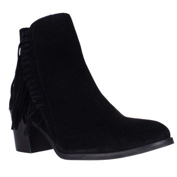 Kenneth Cole REACTION Rotini Side Fringe Ankle Boots, Black, 9.5 US / 40.5 EU