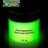 Glominex Glow AD388 in the Dark Face and Body Paint 1 oz Jar - Green