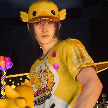 Game FINAL FANTASY XV Noctis Chocobo Fest Hat and T-shirt cosplay Tee Summer trip animation in stock New 2017 free shipping