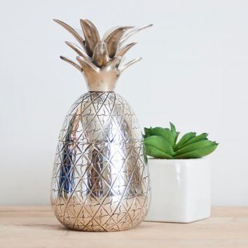 Vintage Silverplate Pineapple Trinket Container Candle Holder, Pineapple Shape Storage Dish, Hawaiian Style Tropical Decor